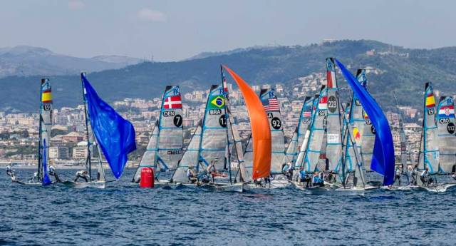 The 49erFX fleet in Genoa in which Annalise Murphy and Katie Tingle competed