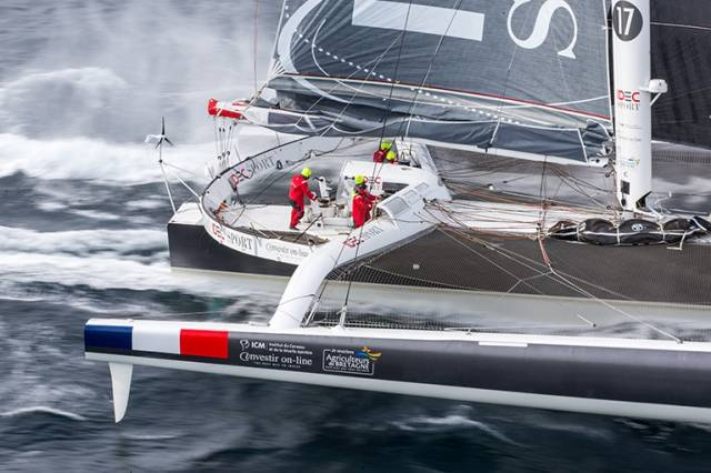 The IDEC SPORT maxi-trimaran aims to complete its round the world record breaking bid in a time of less than 45 days