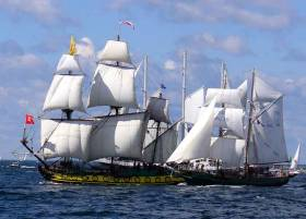Glory days. Asgard II at her best in a Tall Ships Parade in the Baltic in company with the Russian government's Shtandart, a replica of a warship built by Peter the Great in the early 1700s.