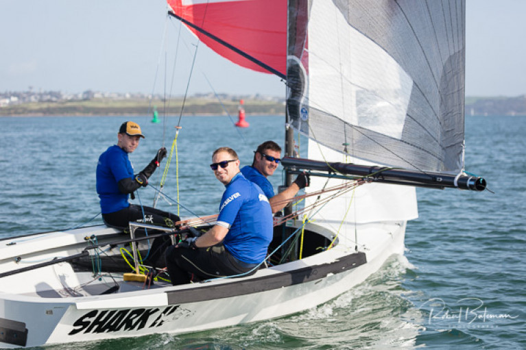 National 18 Shark Eleven (Charles Dwyer, Harry Pritchard, John Coakley) at last September's N18 Irish Nationals in Cork Harbour