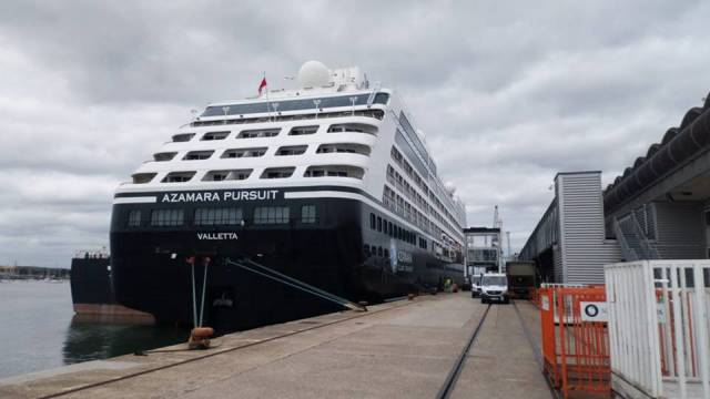 Azamara Pursuit Afloat adds made a maiden call to Dublin Port last Saturday and Waterford the next day. The Irish calls took place prior to sailing to Southampton (above) where the cruiseship was officially christened yesterday.