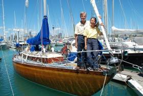 Current Blue Water Medallists Tom and Vicky Jackson aboard their much-travelled S&S 40ft sloop Sunstone. Built by McGruer's in Scotland in 1963 and originally called Deb, Sunstone was for many years known as Dai Mouse III when she was a regular contender with the ISORA fleet in the Irish Sea