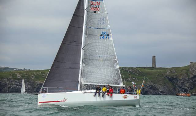 Conor Fogerty's Bam! racing fully-crewed in last year's Volvo Round Ireland race, in which she narrowly beat sister-ship Mister Lucky (Mick Hipgrave). Bam! is due to finish today at Newport, Rhode Island in the OSTAR 2017, but this time round, she's 500 miles ahead of Mister Lucky, and will be third on the water, with only a two-handed Open 40 and a single-handed Open 60 ahead of her