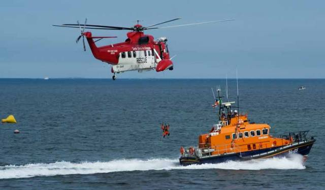 A Coast Guard Helicopter and RNLI lifeboat exercise on the Shannon Estuary