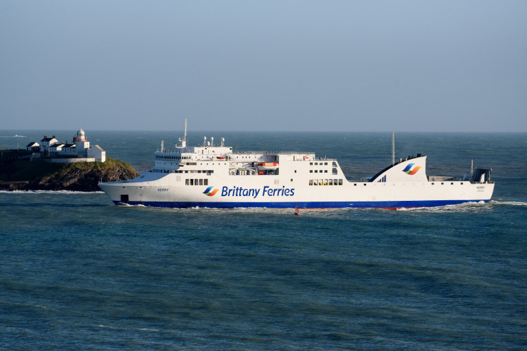Brittany Ferries ferry Kerry passes Roches Point at the entrance to Cork Harbour