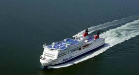 Competing ferries, Stena Adventurer and Norbank on the Irish Sea that serve on 'land-bridge' routes via the UK.