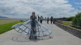 """Stroller"", a design by Michelle Browne and Jeni Roddy for the Galway 2020 ""Hope it rains"" project. The project is inviting public participation in imaginative designs for west of Ireland weatherproof gear"