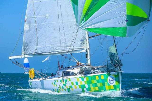 The French double–handed entry, Jasaap, a JPK 10.10, is lying third in IRC overall