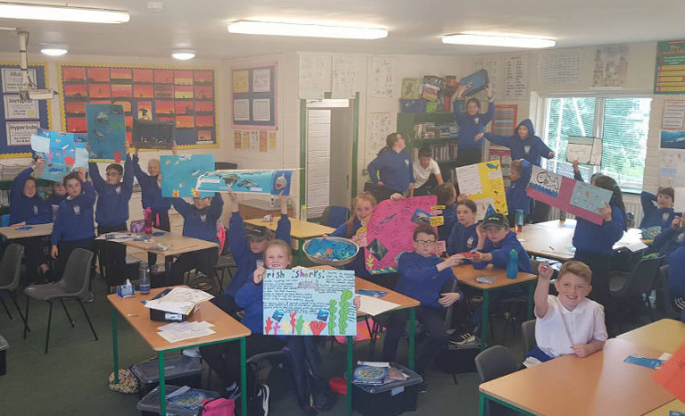 Fifth and sixth class pupils at St Patrick's NS in Craanford, Co Wexford show off their shark-related art