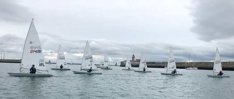 DBSC Laser dinghy racing moves inside Dun Laoghaire Harbour this season