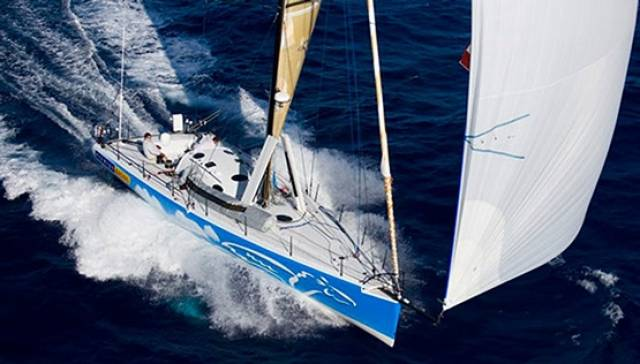 Pegasus of Northumberland showing what she can do when conditions are right. Yet in the Volvo Round Ireland Race 2016, the hugely experienced crew of Teasing Machine have managed to stay ahead of her, and are still in front as they approach Tory Island.