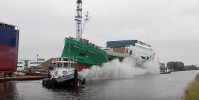 The first of 10 in a new 'C' class of 5,000dwt cargoships, Arklow Cadet was launched this morning for ASL. Scroll down the page for video