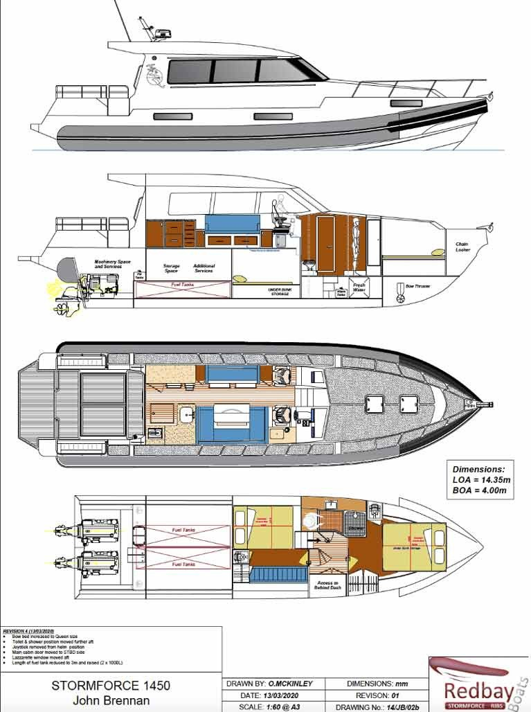 The plans for John & Adam Brennan's new Redbay Stormforce 1450 as they were in March. But with a third eco-friendly centreline economy engine since added to the specification, the boat has now become the Redbay Stormforce 1650, 54ft long with an additional 0.5 metres of beam, and due for delivery in April 2021