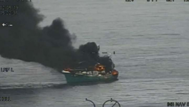 The Suzanne II caught fire about 29 miles east of Arklow