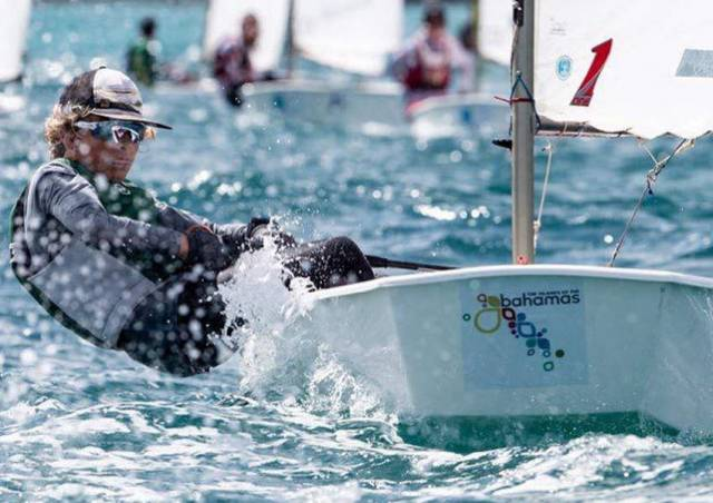 Rocco Wright racing towards a silver medal in the Bahamas last week