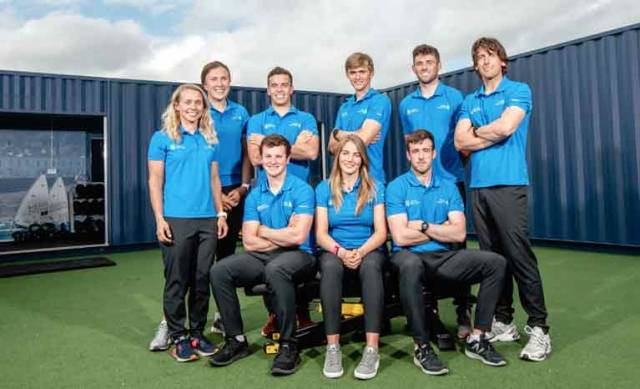 Tokyo trialists - from left Katie Tingle, Annalise Murphy, Rob Dickson, Seafra Guilfoyle, Ryan Seaton and seated Liam Glynn, Aoife Hopkins and Finn Lynch