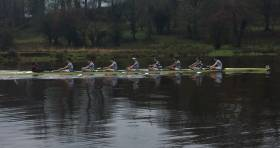 Trinity's senior eight competing at Erne Head of the River.