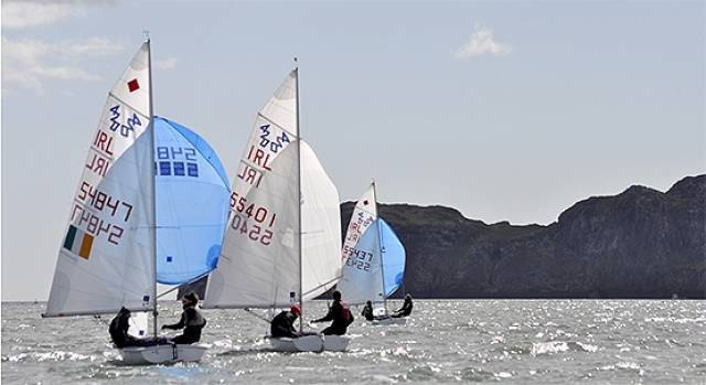 420s competing at the ISA Youth Nationals off Ireland's Eye