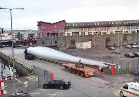 Still from a time lapse video showing one of the massive turbine blades on Galway's dockside last winter
