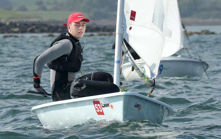 Laser sailor Adam Fernor of Strangford Lough Yacht Club