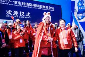 HotelPlanner.com skipper Conall Morrison at the Qingdao Welcome Ceremony