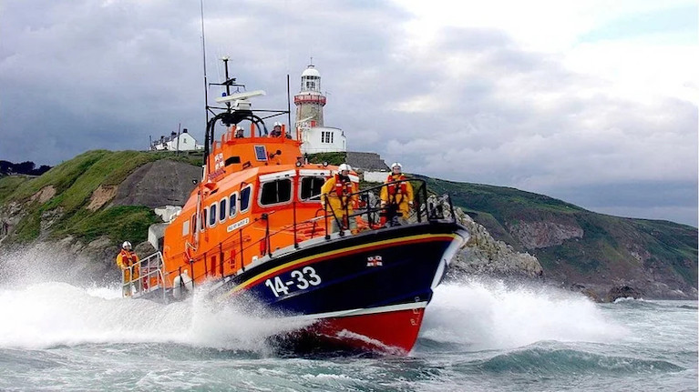 Howth RNLI All-Weather Lifeboat Rescue Fishing Trawler Stranded in Irish Sea