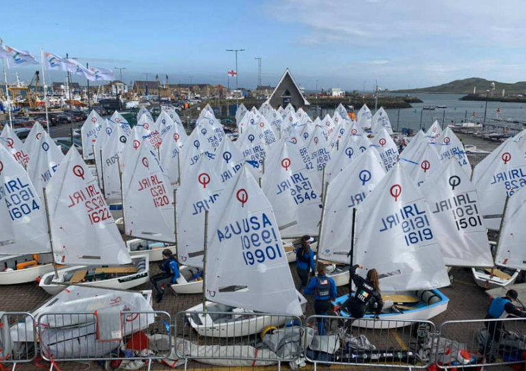 Optimist sailors preparing for racing