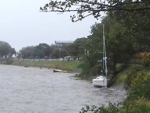 The Malahide yacht had broken its moorings in the high winds and needed to be re-floated on the next high tide