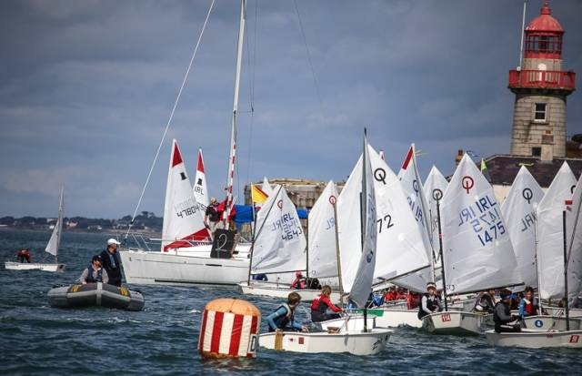 A busy Optimist start at the DBSC Junior September Series in Dun Laoghaire Harbour