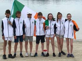 Team Ireland: (from left to right) - Justin Lucas, Fiachra McDonnell-Geraghty, Archie Daly, Johnny Flynn, Jessica Riordan, Alanna Twomey, Clementine Van Steenberge