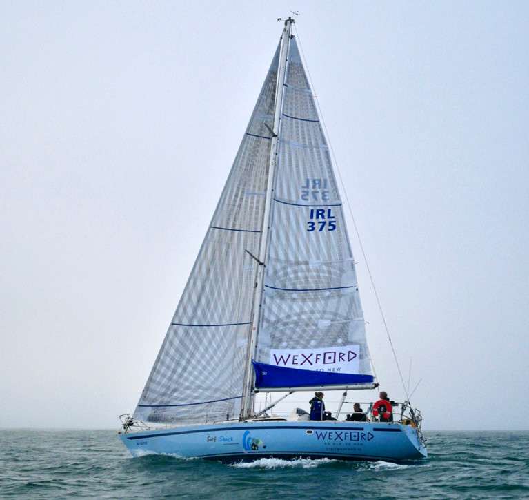 Yamaha 36 going to windward with Beth Miller helming and Hannah Miller crewing