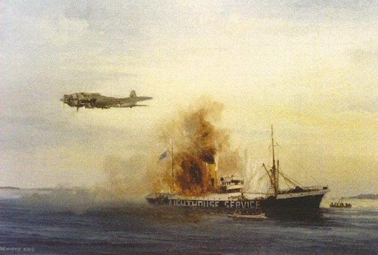 Artist Kenneth King's depiction of a German bomber over the lightship Isolda off the Wexford coast on December 19th, 1940. Six Dun Laoghaire men died and 22 survived