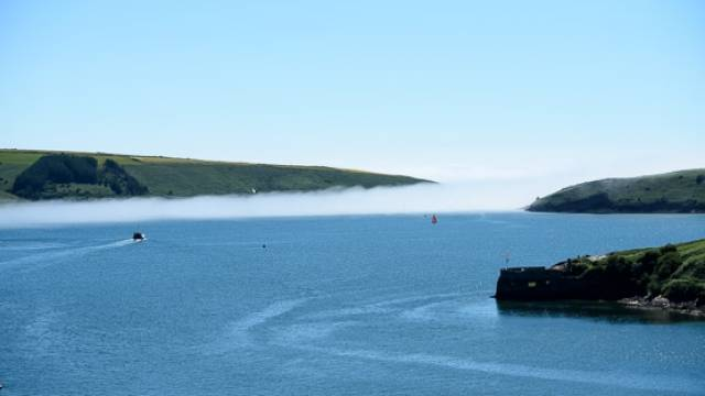 A bank of sea fog at the mouth of Kinsale Harbour today