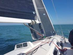 Aboard the J109 White Mischief flying her 3Di Main and Code 2 Jib
