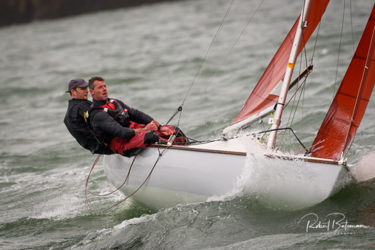 Ian Travers at the helm of a Squib in Kinsale
