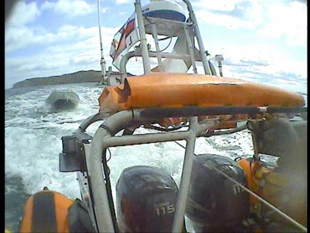 The Skerries inshore lifeboat takes the motor boat under tow to Rush