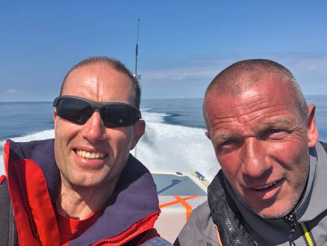 Marc Lyne and Dean Watson mid challenge on board the Scorpion RIB Ocean Devil on Friday 13 July