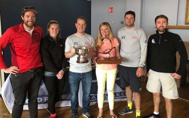 Atara's winning crew of Paddy Good, Jenny Andreason, Ross McDonald, Aoife English, Robbie English & Richie Harrington with the Romaine Cagney Bowl and the 1720 Europeans Trophy.