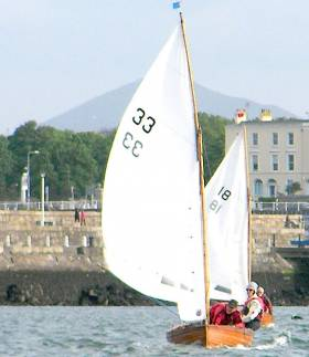 Water Wag Eva II (33) leads Good Hope (18) in Wednesday's third and final race of the first mini-series at Dun Laoghaire