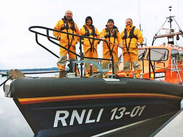 Wicklow lifeboat crew on the relief Shannon lifeboat Jock and Annie Slater, which arrives on Sunday 24 February