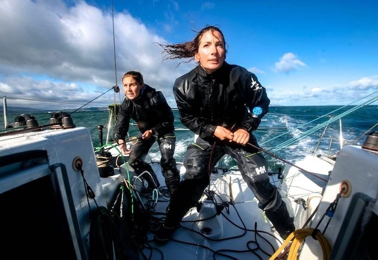 Action stations – round Ireland two-handed champions Cat Hunt and Pam Lee focusing on speed aboard their record-making, record-breaking Figaro 3 Iarracht Maigeanta