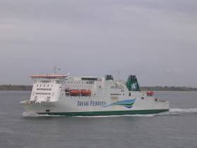 This morning Isle of Inishmore resumed Rosslare-Pembroke service, following routine annual drydocking at Cammell Laird, Birkenhead on Merseyside. The twin funnelled cruiseferry in 2018, will mark 21 years in operation for the Irish Ferries ship seen underway off the Wexford coast and bound for south Wales.