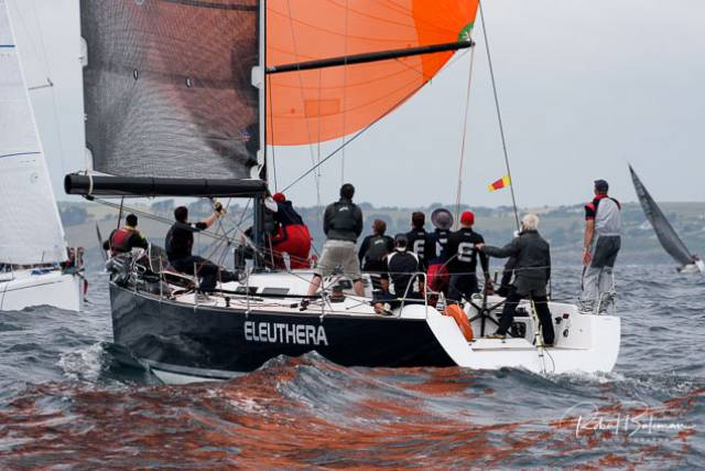 Frank Whelan's Grand Soleil 44 Eleuthera from Greystones Sailing Club and Schull Harbour leads Class Zero after the first two races of the Sovereign's Cup off Kinsale