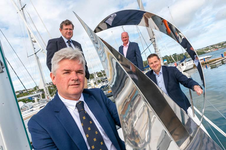 Regatta Director Anthony O'Neill holding the Michelle Dunne Prix d'Elegance trophy, KYC Commodore Michael Walsh together with Robert Kennedy & Brian Goggin of the O'Leary Insurance Group