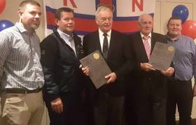 Valentia RNLI celebrate - Colum O'Connell (new Lifeboat Operational Manager), Richard Quigley (Valentia RNLI Cox), Richard Foran, Timothy Lyne and Leo Houlihan (Valentia RNLI Mechanic)