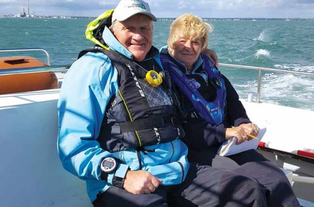 Irish Sailing President Jack Roy and his wife Rosemary relaxing after a busy Saturday in charge of racing on Dublin Bay