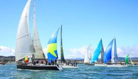 "Frank Whelan's ISORA winning team on ""Eleuthera"" (black hull to leeward) as a bumper 25–boat ISORA fleet reach out of Dublin Bay on Sunday in the first race of the Viking Marine Coastal Series"