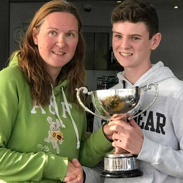 Hugh O'Connor receiving the Topper Challenge Cup in Rush last weekend