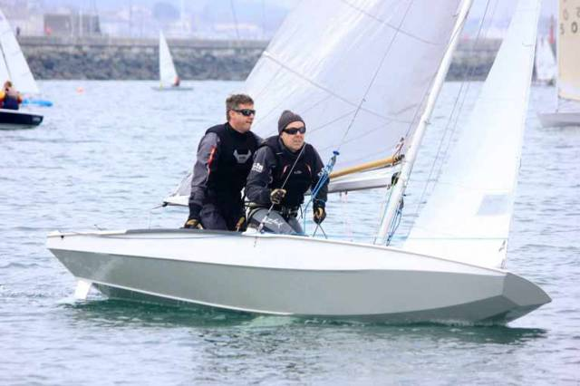 Noel Butler and Stephen Oram in their Fireball dinghy
