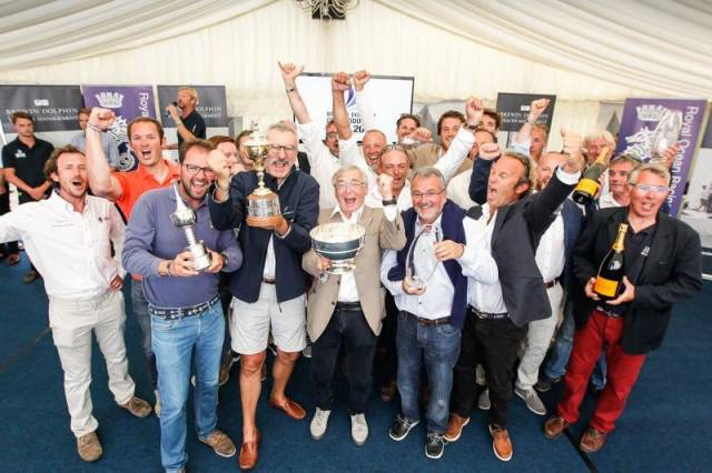 France Blue celebrate victory in the 2016 Brewin Dolphin Commodores' Cup